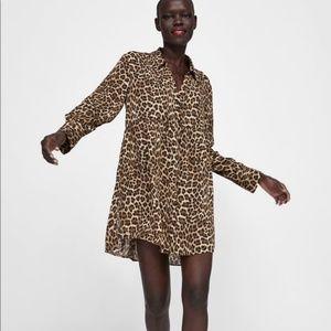 Zara oversized button down animal print dress